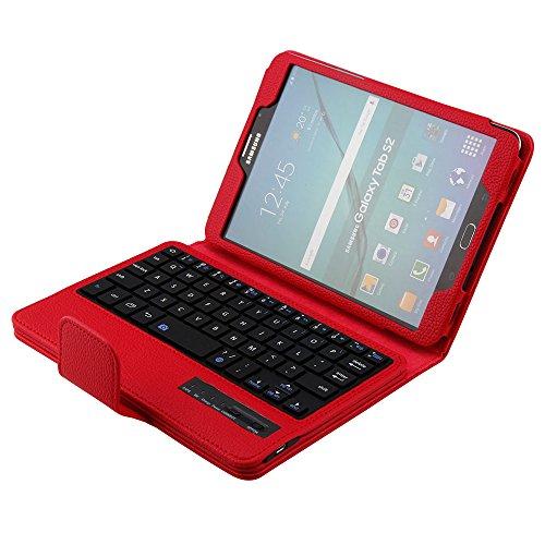 SCIMIN Funda para Samsung Galaxy Tab S2 8.0, funda para teclado Galaxy Tab S2 8.0, funda protectora de piel con teclado Bluetooth extraíble para Samsung Galaxy Tab S2 8.0 [T710/T715/T719N]
