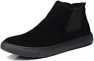2019 Mens New Lace-up Flats Mens Chelsea Boots for Men Ankle Shoes Pull On Elastic Band Matte Suede Breathable Lined Flat Anti Slip Round Toe Solid Color Durable Breathable Black