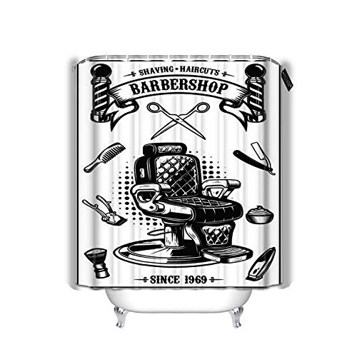 """YILINGER Bath Shower Curtain Barbershop Barber Chair Haircut Tools Design Elements for Emblem Waterproof Polyester Bath Curtains 72""""x72"""""""