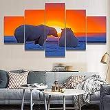 Arte moderno de la pared HD Impreso Imágenes Decoración Marco modular 5 Piezas Animal Oso polar Puesta de sol Pintura Lienzo Decoración para el hogar Cartel