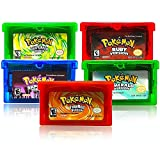 5 Pcs Pokemon GBA game. Sapphire version, ruby version, emerald version, flaming red version, green leaf version Compatible with GBM / GBA / SP / NDS / NDSL (copy game card)