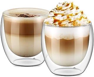 كؤوس بطبقة زجاجية مزدوجة لقهوة اسبريسو والقهوة التركية والشاي /فناجين قهوة للاسبريسو