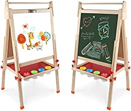 Kids Wooden Art Easel Double-Sided Whiteboard and Chalkboard Adjustable Standing Easel..