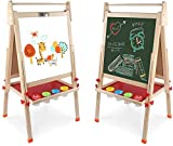 Kids Wooden Art Easel Double-Sided Whiteboard & Chalkboard Adjustable Standing Easel with Paper