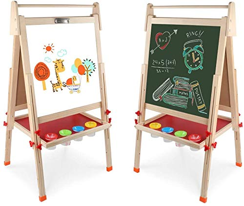 Amazon - Wooden Art Easel Double-Sided Whiteboard and Chalkboard $49.99