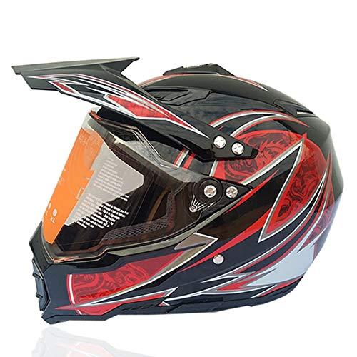 Casco de Motocicleta de Cara Completa para Adultos, Cascos de Motocicleta Transparentes antivaho, Gorras de Seguridad de Moto Unisex para Carreras de Motocross