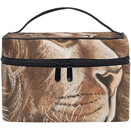 Lion Art Cosmetic Bag Travel Makeup Train Cases Storage Organizer