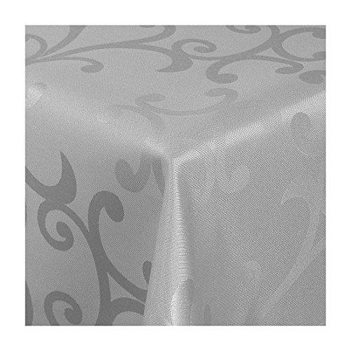 TEXMAXX Damast Tischdecke Maßanfertigung im Milano-Design in grau-Silber 120x290 cm eckig,weitere Längen und Farben wählbar