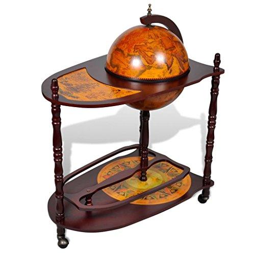 Lingjiushopping Meuble de bar en forme de globe avec chariot Renaissance Peintures à l'intérieur du globe, sur la table et la base en bois massif (eucalyptus).