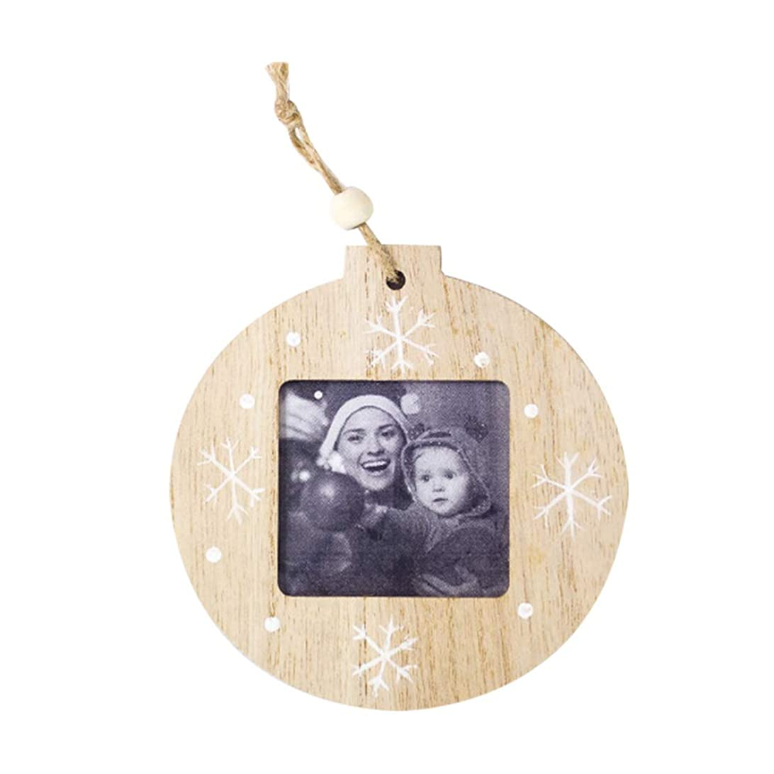 YideaHome クリスマス 飾り フォトフレーム 写真フレーム 葉型 丸型 オーナメント 糸付き 結婚式?誕生日?記念日?パーティーの飾り 吊り下げ デコレーション壁装飾 ツリー飾り