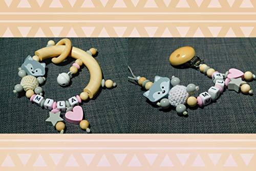 Juego de cadenas para chupete y chupete con anillo de agarre para niños y niñas, diferentes modelos, regalo para nacimiento o bautizo Set de estrellas de zorro, color rosa y gris.