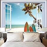 KHKJ Plage de Noix de Coco Tapisserie Hippie Mur Mandala tenture Murale esthétique Bleu océan Tapisserie fenêtre Coucher de Soleil tapisseries A10 200x150 cm