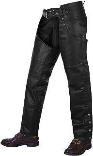 "ALPHA CYCLE GEAR MOTORCYCLE CHAPS PLAIN BIKERS RIDING PANTS ASSLESS COWBOY VINTAGE CHAPS BLACK (BLACK, WAIST 38"")"