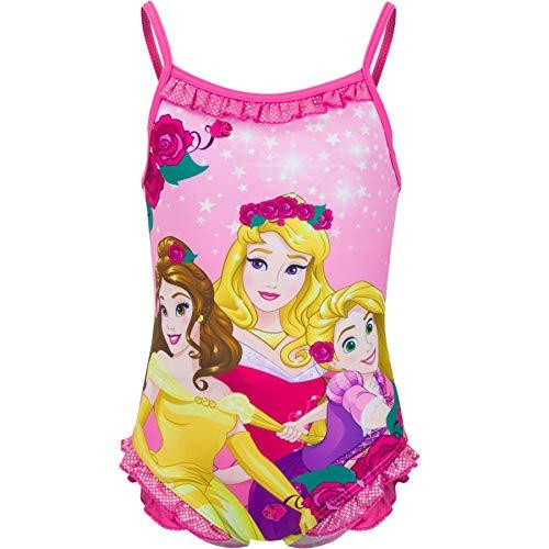 Disney Pincess - Costume intero da bagno per bambine, con mulini argentati, 2-6 anni, rosa, 2-3 Anni