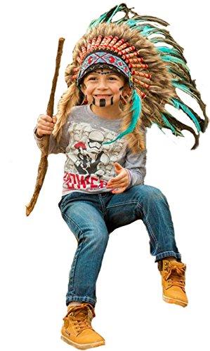 KARMABCN N33- Tocado Indio para niños de 5 a 8 años de Edad, Sombrero, penacho de Guerra, Tocado...