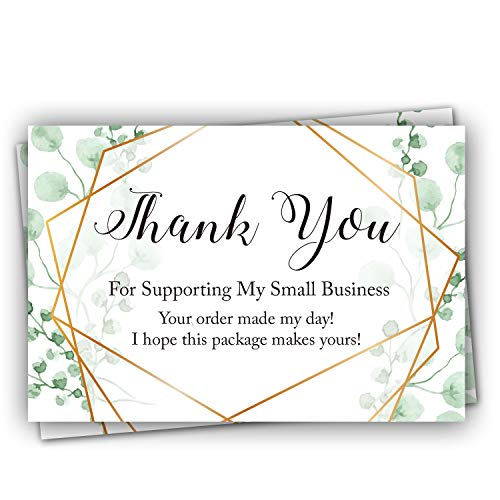 50 Thank You For Supporting My Small Business Cards, Small Business Thank You Cards, Thanks You Made My Day Pretty Purchase Order Inserts(3.2 X 4.7 Inch)