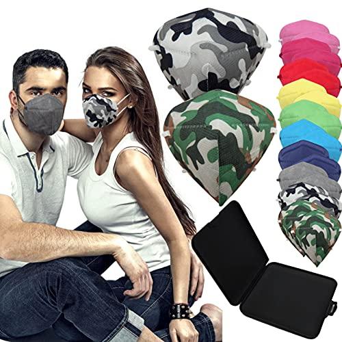 Weibang - 20x Mascarilla Protectora FFP2 NR Adulto 5 capas Colores y Estampados Variados + Mask Case color aleatorio ⭐