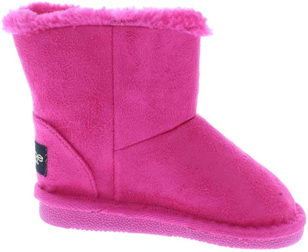 Toddler Girls Microsuede Snow Boots with Faux Fur Cuffs Slip-On Winter Shoes,Fuchsia,8