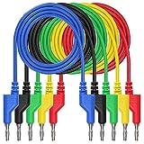 Xkfgcm 5 pezzi 1m Plomos de Prueba del Cable del 4mm Conector Banana del Color 5 Conector Banana al Cable de Prueba del Conector Banana para el Multímetro Para Trabajos de Pruebas Eléctricas