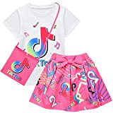 D.O.T 3pcs TikTok Girl Skirt Sets T Shirt Top + Bowknot Skirt with Bag Outfits (Rosy, 3-4T)