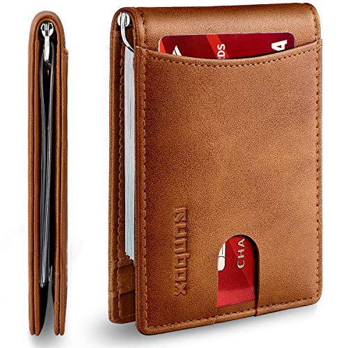 RUNBOX Minimalist Slim Wallet for Men with Money Clip RFID Blocking Front Pocket Leather Mens Wallets(brown)…