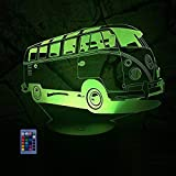 HPBN8 3D Bus Lampe Nachtlicht Fernbedienung USB Power 7/16 Farben 3D LED Lampe Formen Kinder...