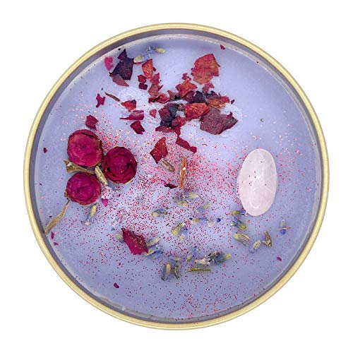 Fifi Peony's Gemstone Candles - Infused with Healing Rose Quartz Crystals and Hand Placed Dried Flowers. Scented with Soothing Fig in Natural Soy Wax. Burns with an Elegant Wooden Wick. 8oz