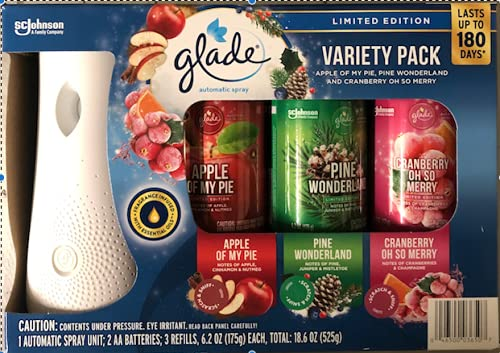 Glade Automatic Spray Variety Pack Limited Edition Cranberry Pine & Apple Flavors