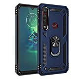 BestST Funda Motorola Moto G8 Plus/One Macro con Anillo Soporte, HD Protector de Pantalla, Robusta Carcasa Híbrida TPU + PC de Doble Capa Anti-arañazos Caso para Motorola Moto G8 +/One Macro, Azul