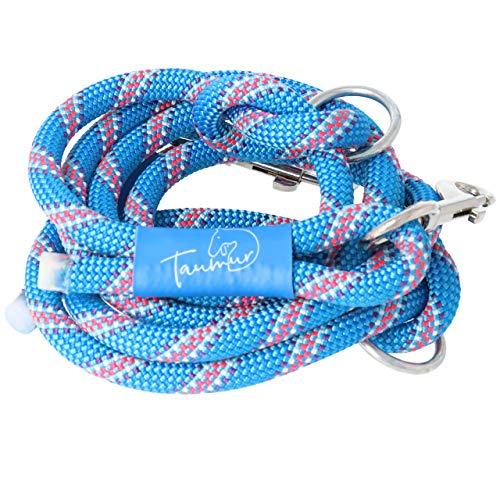 Dagrenning - zweifach verstellbare Hundeleine aus stabilem Kletterseil - blau/bunt - für große Hunde