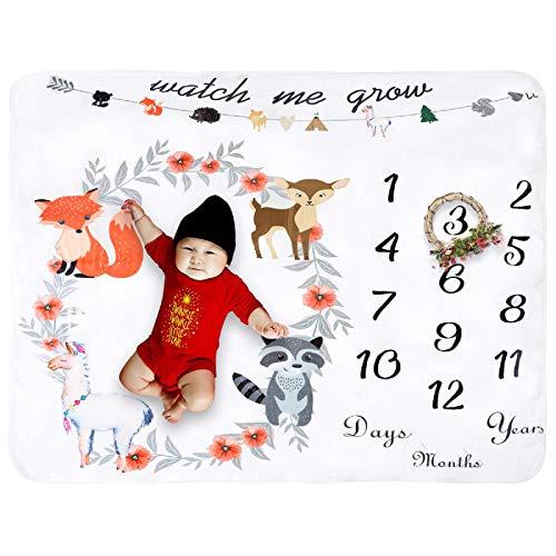 Manta de forro polar para bebé mensual, extra grande, para fotografía de fondo, gruesa, para baby shower, regalo para una sola (flor de animal)