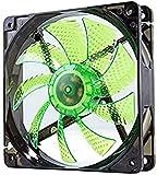Nox Coolfan -NXCFAN120LG- Ventilador Caja PC 120mm, 9 aspas traslúcidas, rodamientos larga duración, 4 LEDs, silencioso, conector 3 y 4 pines, color verde - negro