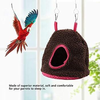 Smandy Nids, nid Perroquet nid d'oiseau pour Animaux de Compagnie Hiver Chaud hamac Suspendu Cage Cage en Peluche Heureuse Tente lit Tente(Marron foncé)