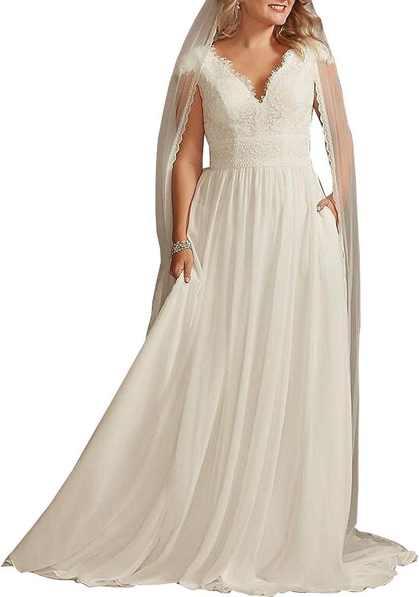 Mengxiaohe Cap Sleeve V-Neck Wedding Dress Chiffon Lace Romantic Elegant Beach Wedding Dress