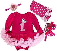 Marlegard Baby Girls' 4PCs Hot Pink 1st Birthday Tutu Dress Headband Shoe Leggings (12M(9-12months), Hot Pink)