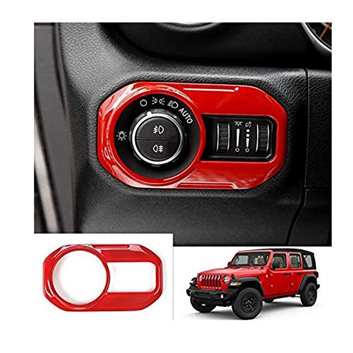 ITrims for Jeep Wrangler JL 2018 2019 2020 Car Accessories Interior Headlight Lamp Switch Cover Trim 1PC ABS(RED)