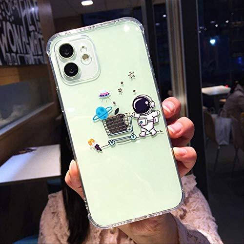 Caja del teléfono para iPhone 12 Mini 12 11 Pro X XR XS MAX 7 8 Plus Moda Dibujos Animados Astronauta Planeta Ángulo Recto Clear Airbag Funda Blanda para iPhone XR T1