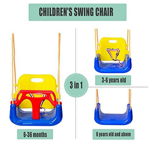 WENCY 3-in-1 hangstoel met rugleuning en beschermgordel om te kantelen, geschikt voor kinderen van verschillende leeftijden, geschikt voor binnen en buiten.