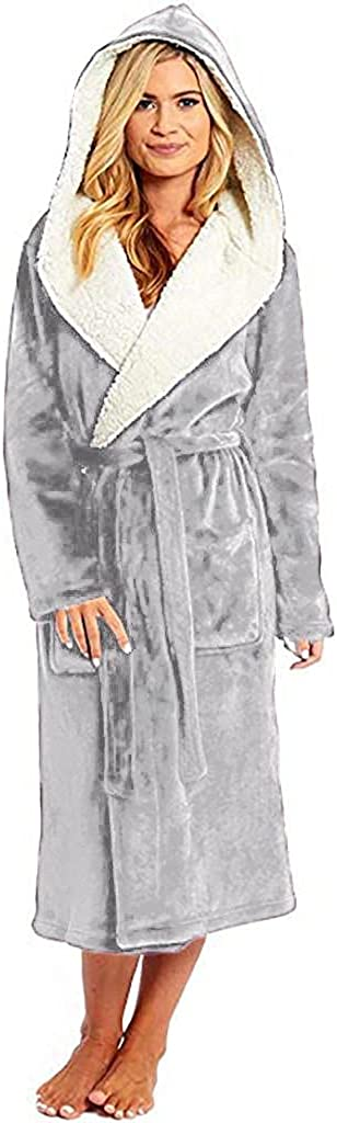 Womens Long Plush Shawl Collar Soft Fleece Bathrobes Maxi Hooded Bath Robes Cotton Warm Lightweight Robe