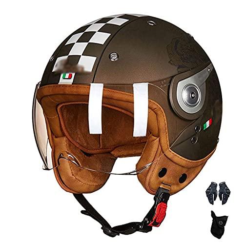 Motocicleta Jet De Retro De Cara Abierta 3/4 Para Hombres Y Mujeres Adultos Anticuado, Universal En Todas Las Estaciones, Adecuado Para Ciclomotor De Bicicleta Cruiser Chopper, CertificaciónDOT / E