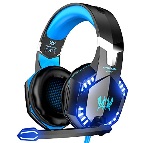 VersionTECH. G2000 Gaming Headset, Surround Stereo Gaming Headphones with Noise Cancelling Mic, LED Lights & Soft Memory Earmuffs for PS5, PS4, Xbox One, Nintendo Switch, PC Mac Computer Games- Blue
