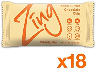 Zing Vital Energy Nutrition Bars – Peanut Butter Chocolate Chip, 18 Bars - NEW MINI, 100 Calorie Snack