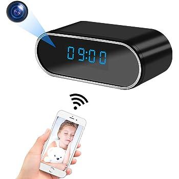 小型カメラ 隠しカメラ 置き時計型 WiFi超小型カメラ スパイカメラ 長時間録画 1080P超高画質 ライブ映像監視 iPhone/Android対応 動体検知 自動警報 暗視撮影 防犯 監視 証拠撮影対応 日本語取扱説明書付