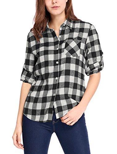 Allegra K Camiseta para Mujer Mangas Enrolladas Telas Escocesas Camisa Abotonada De Cuadros Negro y Blanco XS