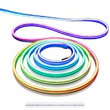 Aclorol 16.4FT LED Neon Rope Lights Addressable LED Strip Neon Sign Flexible Pixels Light RGB Dream Color Rainbow WS2811 DC12V 5M Waterproof for DIY Bedroom Wall Wedding Party Bars Advertising Signs