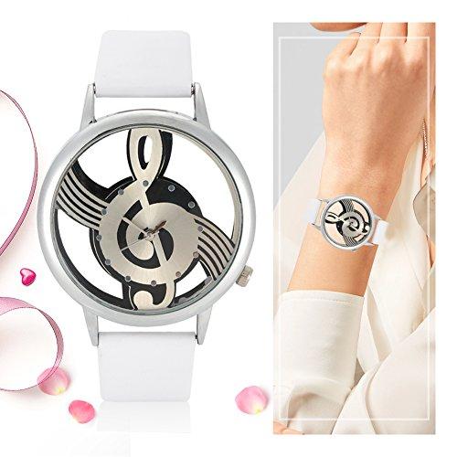 VGEBY1 Reloj analógico, Hueco Nota Musical Marcar a los Amantes de Cuarzo Redondo Reloj de Pulsera Reloj Casual para Mujer Hombre