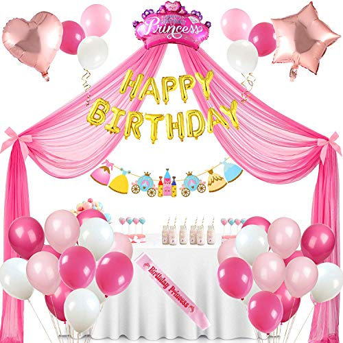 Princesa Compleaños Decoracion Kit de Guirnaldas de Globos Blanca Rosa Látex Globos Corazon Corona Helio para Globos Rosa Cortina Cama Tul para Cumpleaños Infantiles Fiestas Decoraciones