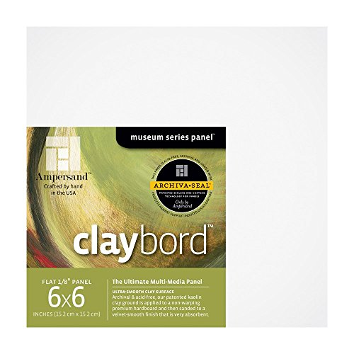 Ampersand Museum Series Claybord Panels for Paint and Ink, 1/8 Inch Depth, 6X6 Inch, Pack of 4 (CBS066)