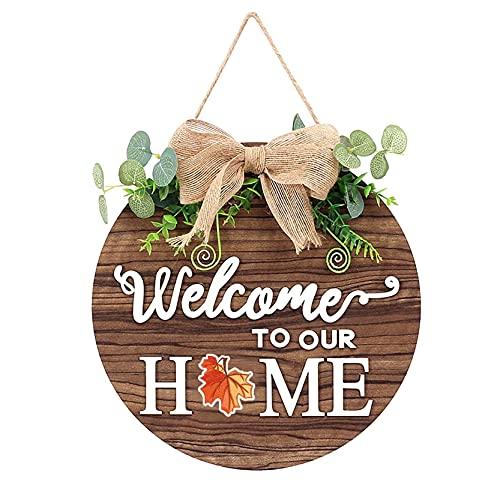 N/A1 Welcome Door Sign Wall Ornaments For Front Door Seasonal Garland Sign Wooden Door Decorations Creative Door Pendant Wreaths Door Hanger Front Door Decorations Hanging with Flowers House Corridor