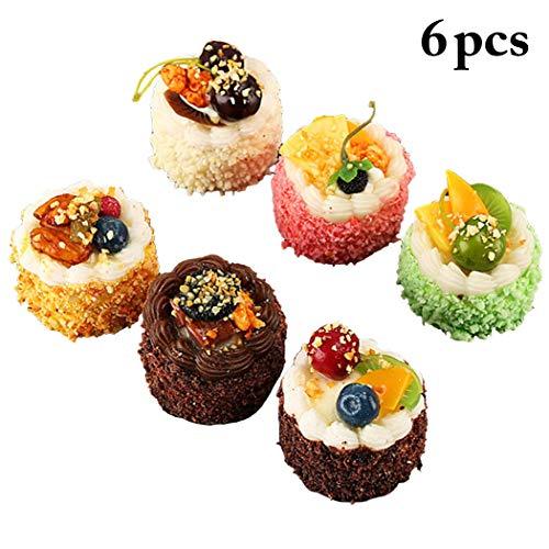 JUSTDOLIFE 6PCS Simulazioni di Torte Artificiali Puntelli di Cupcake Decorativi Puntelli di Dessert